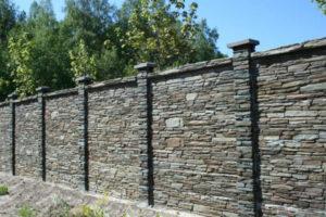 Забор облицованнный камнем 2